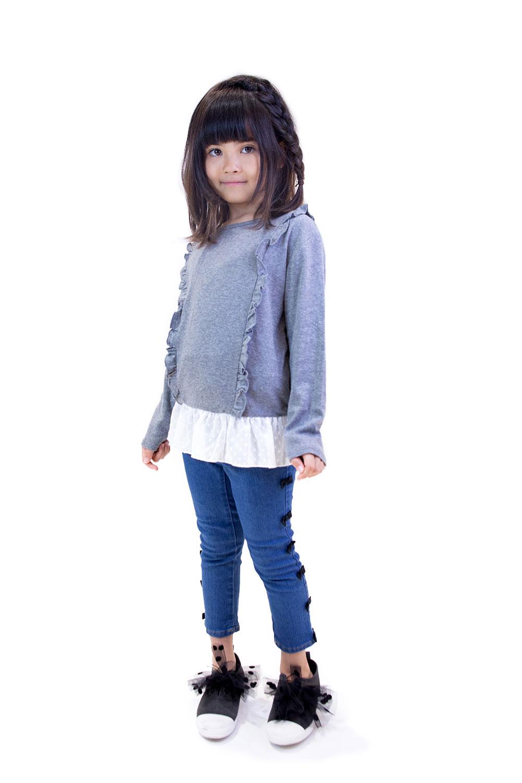 A54811フリル付綿フライス裾シフォンTシャツ