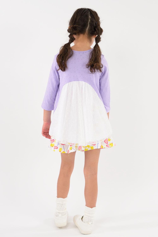 A30810Caldia (カルディア) お花刺繍後フリル7分袖Tシャツ