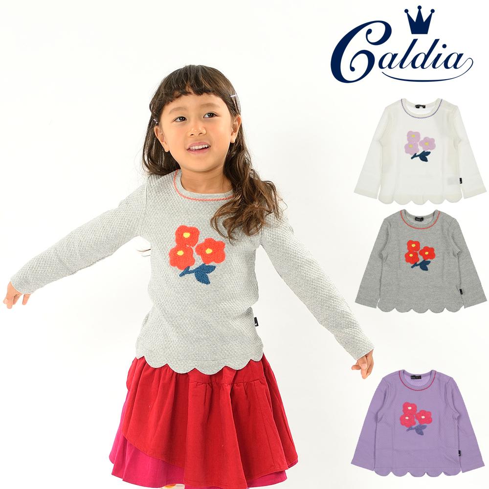 A50812Caldia お花サガラ刺繍スカラップTシャツ