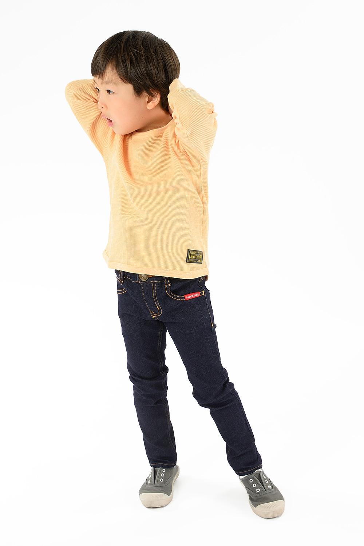 V12803Daddy Oh Daddy 日本製袖口刺繍入りワッフル無地Tシャツ