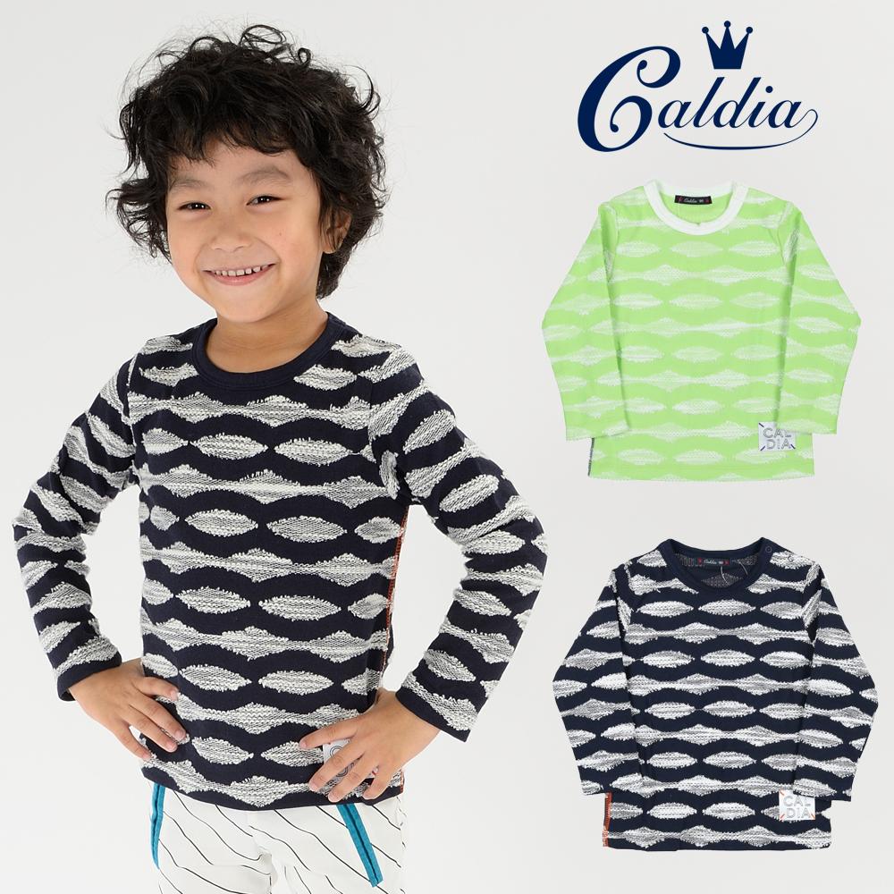 A10822Caldia 日本製スカラップボーダージャガードTシャツ