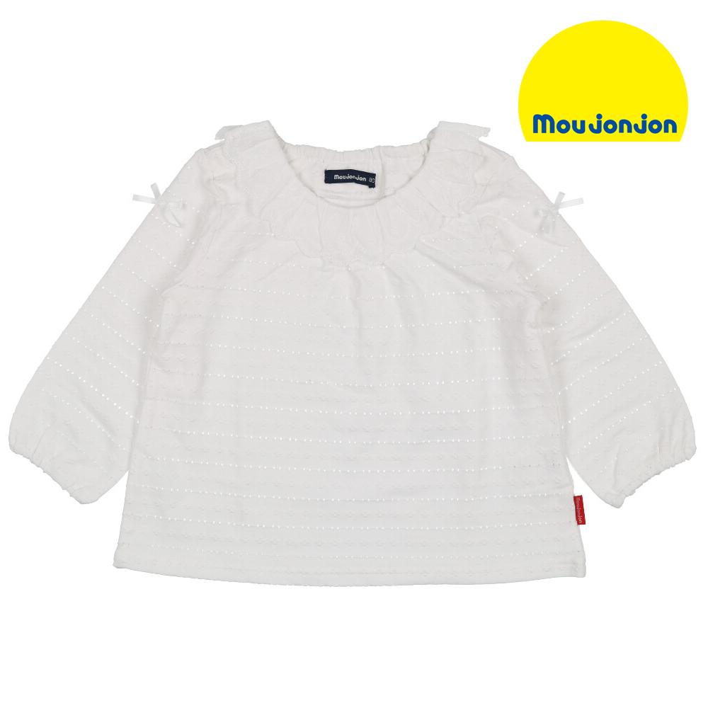 M12850moujonjon レース衿パターンメッシュ白Tシャツ