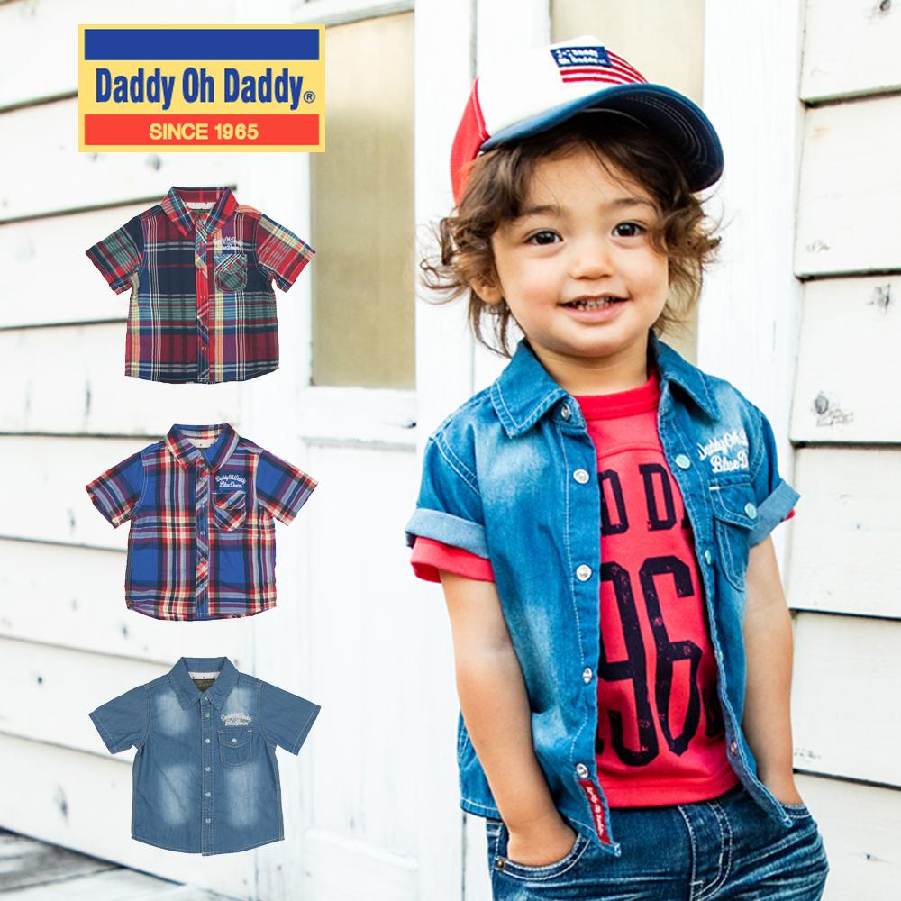 V32500Daddy Oh Daddy デニム&チェック柄半袖シャツ